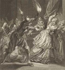 De Moord Op Aleida van Poelgeest. Gravure van Reinier Vinkeles en Jacobus Buys uit 1794.