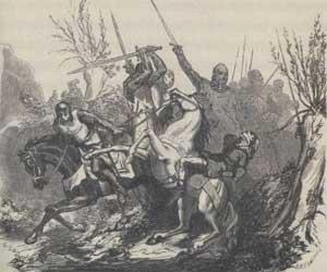 De moord op graaf Floris V De houtgravure van E. Vermorcken (1820-1906), naar een origineel van J.W.F. Kachel (1826-1873)