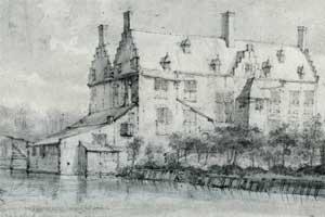 Woning op de voorburcht gezien door Roelant Roghman anno 1647